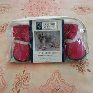 East Side Collection Pink Sherpa Dog Boots